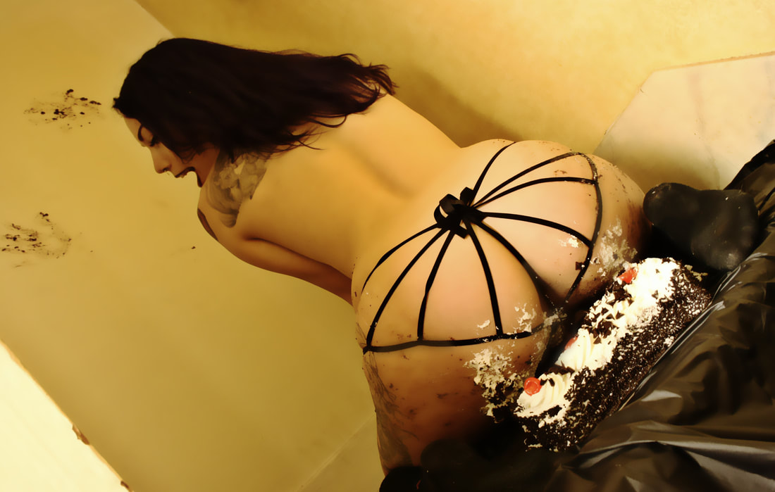 Phrase lie. woman on naked cake sitting about