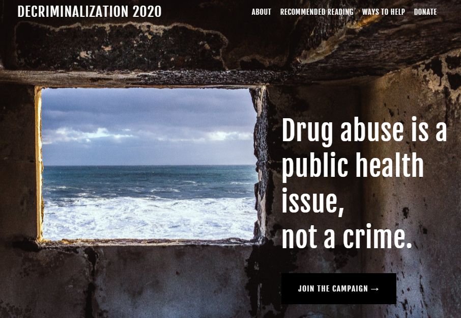 photo - landing page for decriminalization