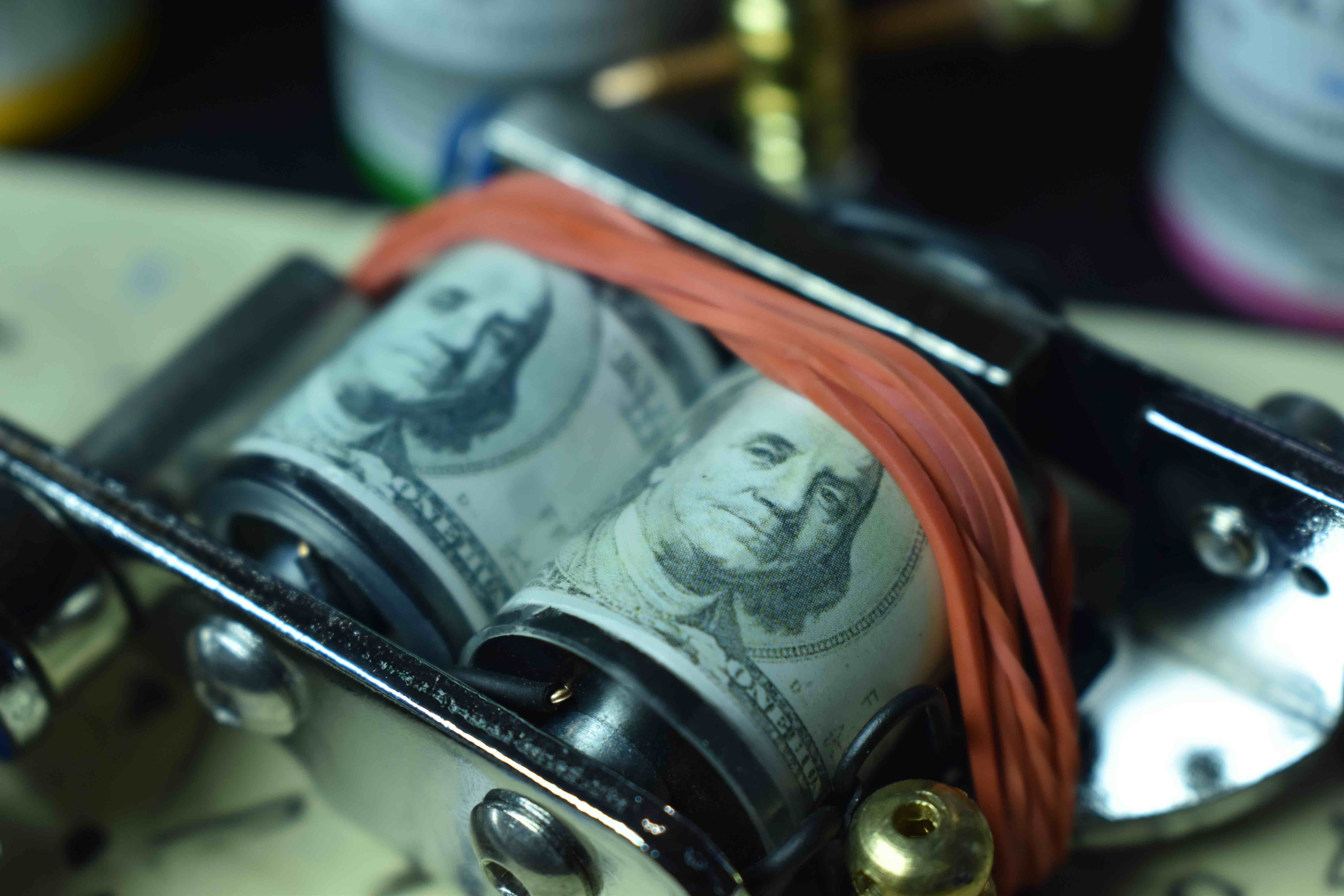 photo - tattoo gun - money